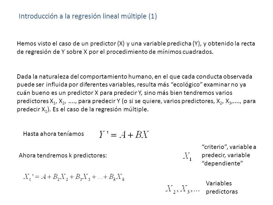 Introducción a la regresión lineal múltiple (1) Hemos visto el caso de un predictor (X) y una variable predicha (Y), y obtenido la recta de regresión