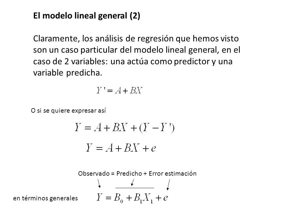 El modelo lineal general (2) Claramente, los análisis de regresión que hemos visto son un caso particular del modelo lineal general, en el caso de 2 v