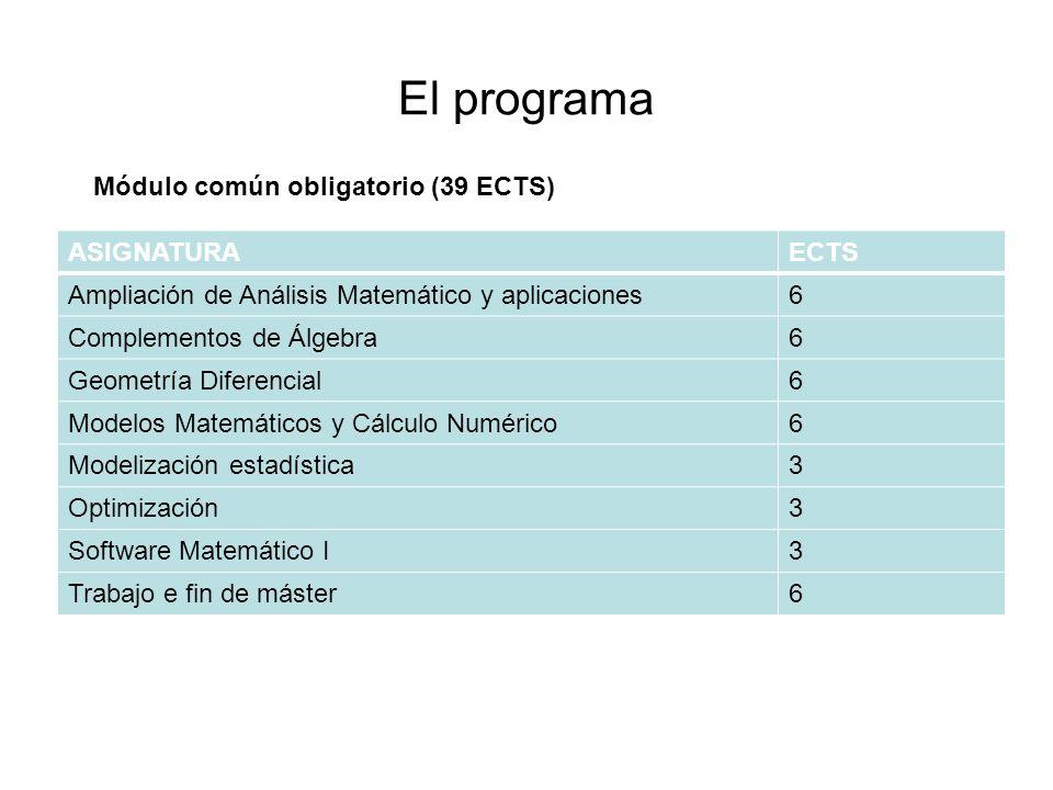 El programa ASIGNATURAECTS Ampliación de Análisis Matemático y aplicaciones6 Complementos de Álgebra6 Geometría Diferencial6 Modelos Matemáticos y Cál