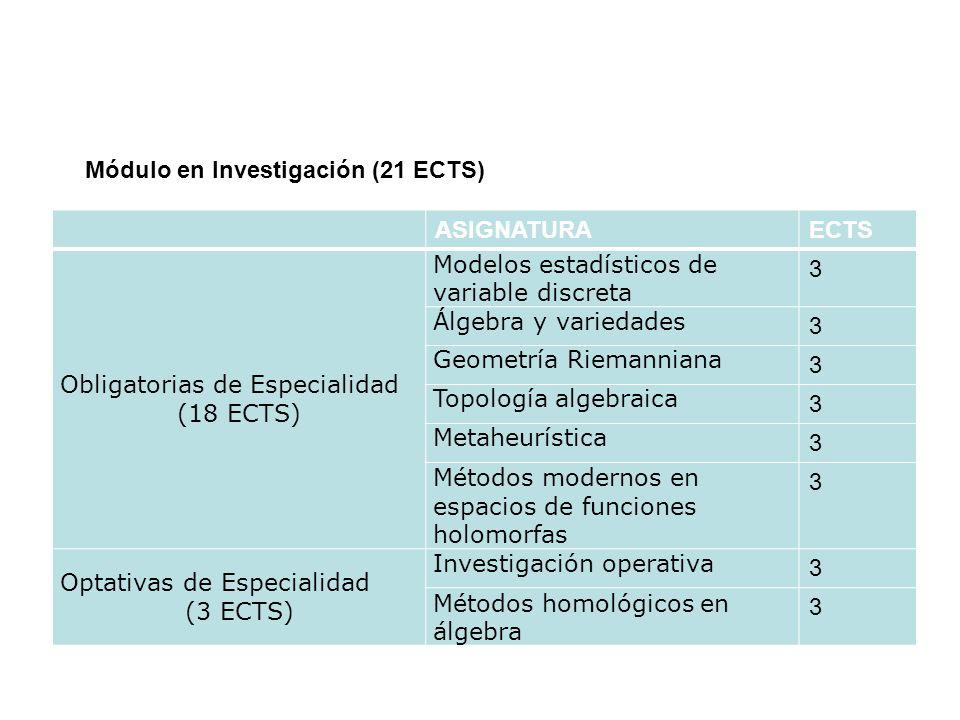 ASIGNATURAECTS Obligatorias de Especialidad (18 ECTS) Modelos estadísticos de variable discreta 3 Álgebra y variedades 3 Geometría Riemanniana 3 Topol