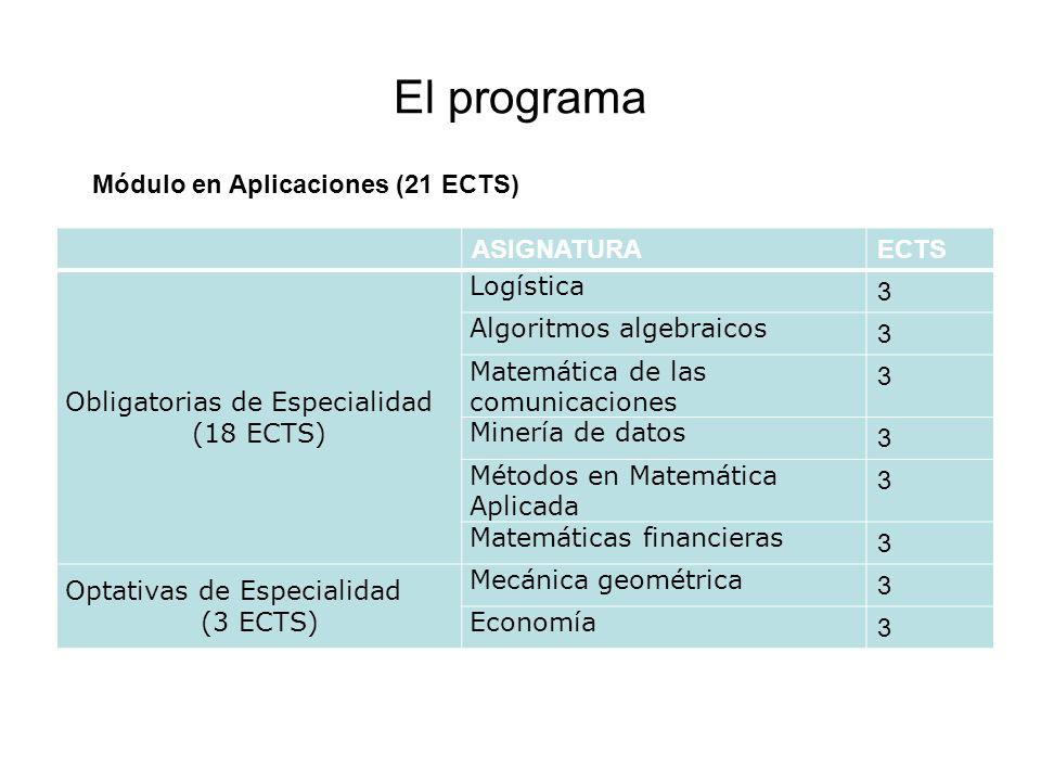El programa ASIGNATURAECTS Obligatorias de Especialidad (18 ECTS) Logística 3 Algoritmos algebraicos 3 Matemática de las comunicaciones 3 Minería de d