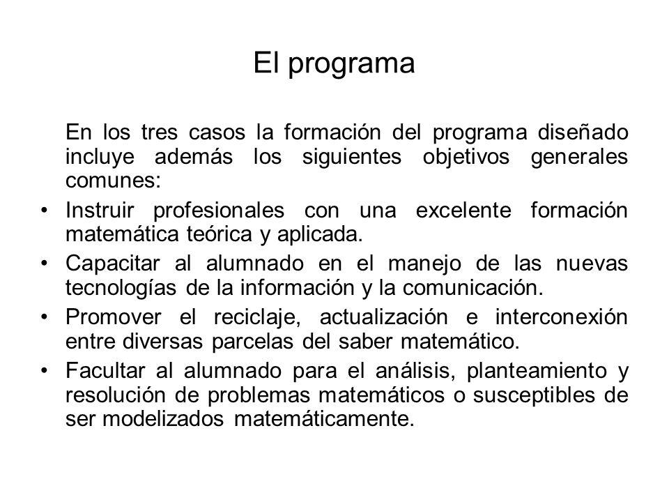 El programa En los tres casos la formación del programa diseñado incluye además los siguientes objetivos generales comunes: Instruir profesionales con