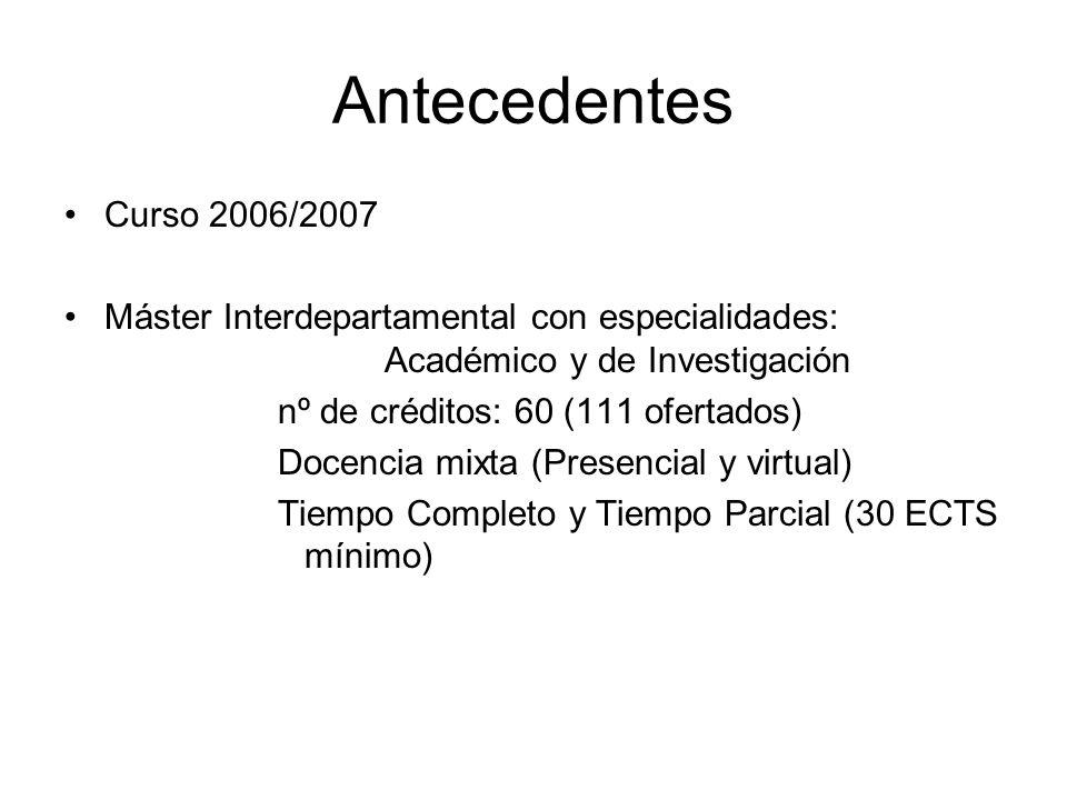 Antecedentes Curso 2006/2007 Máster Interdepartamental con especialidades: Académico y de Investigación nº de créditos: 60 (111 ofertados) Docencia mi