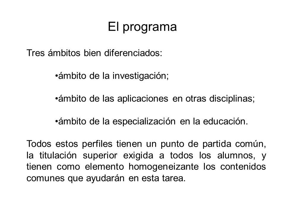 El programa Tres ámbitos bien diferenciados: ámbito de la investigación; ámbito de las aplicaciones en otras disciplinas; ámbito de la especialización