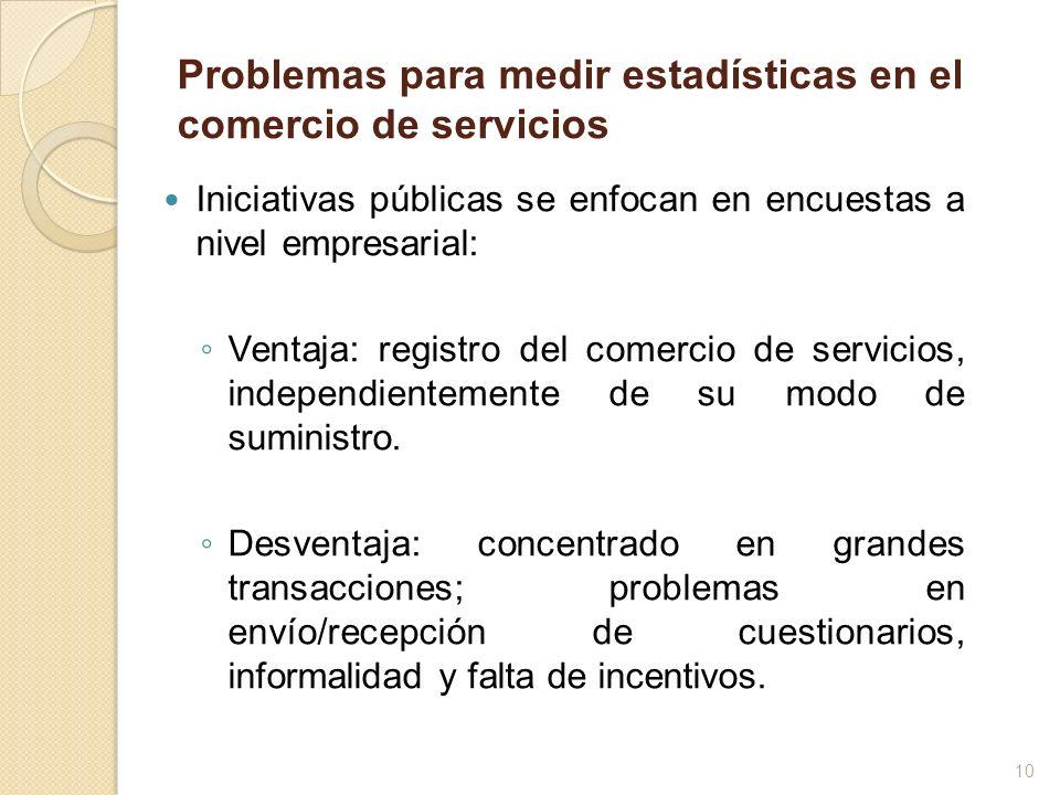 Problemas para medir estadísticas en el comercio de servicios Iniciativas públicas se enfocan en encuestas a nivel empresarial: Ventaja: registro del