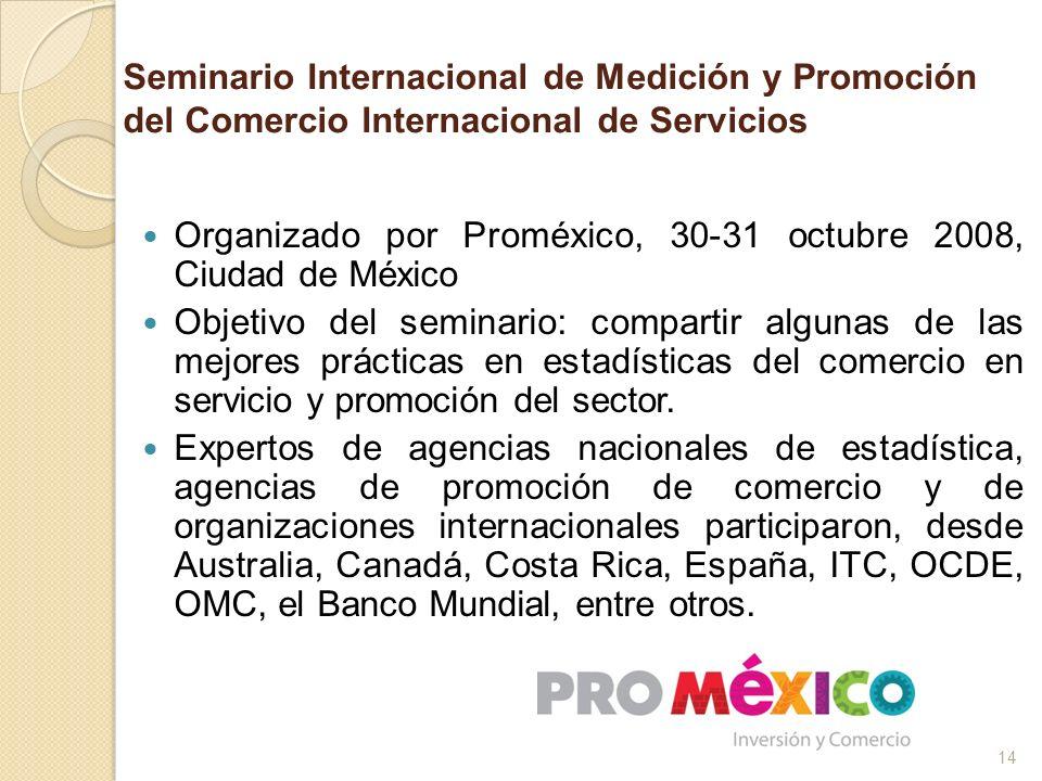 Seminario Internacional de Medición y Promoción del Comercio Internacional de Servicios Organizado por Proméxico, 30-31 octubre 2008, Ciudad de México
