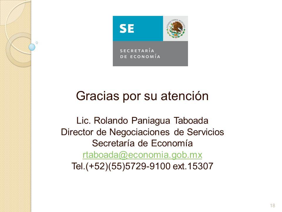 Gracias por su atención Lic. Rolando Paniagua Taboada Director de Negociaciones de Servicios Secretaría de Economía rtaboada@economia.gob.mx Tel.(+52)