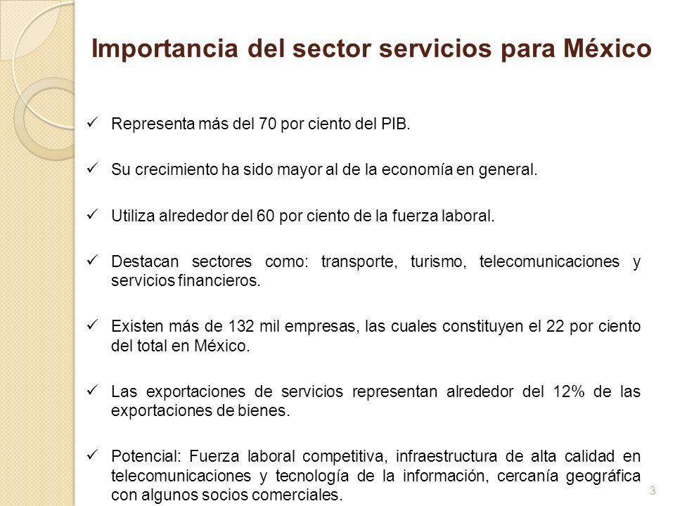 4 TotalAgricultura, silvicultura y pesca Industria Servicios 20004.7-2.23.2 6.0 2001-1.46.7-3.9 -0.6 20022.0-2.30.8 3.0 20032.14.10.8 2.7 20044.83.44.1 5.4 20052.5-7.22.9 3.7 20064.310.33.6 4.2 20073.81.91.8 4.9 Fuente: Instituto Nacional de Estadística, Geografía e Informática Tasa de crecimiento por actividad económica (cambio porcentual anual) Importancia del sector servicios para México