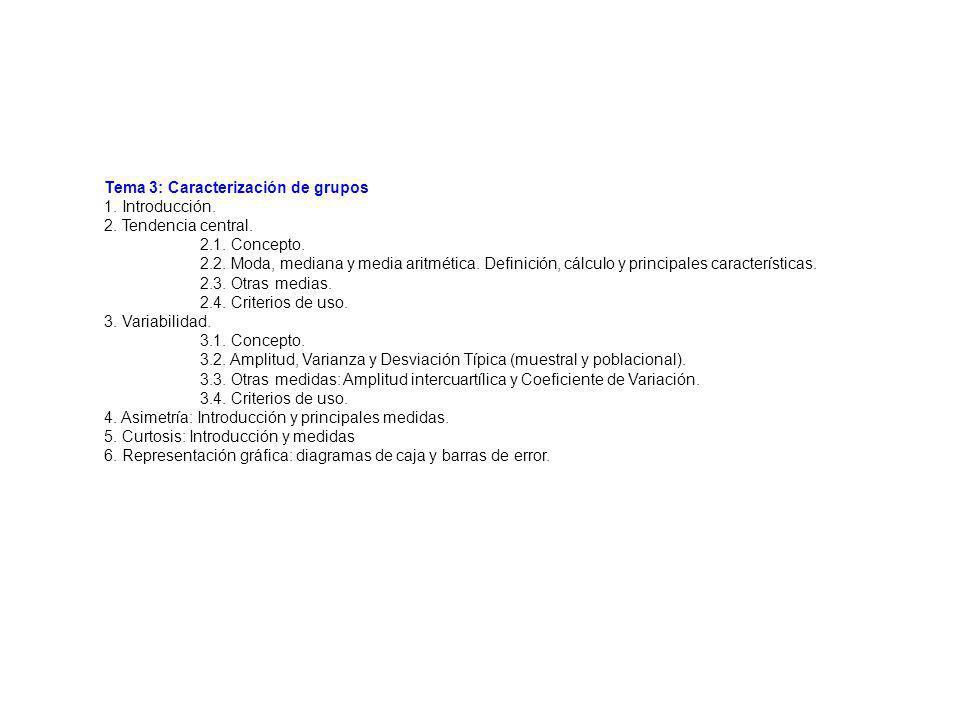 Tema 3: Caracterización de grupos 1. Introducción. 2. Tendencia central. 2.1. Concepto. 2.2. Moda, mediana y media aritmética. Definición, cálculo y p