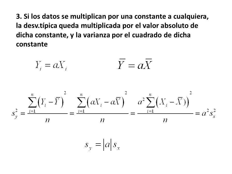 3. Si los datos se multiplican por una constante a cualquiera, la desv.típica queda multiplicada por el valor absoluto de dicha constante, y la varian