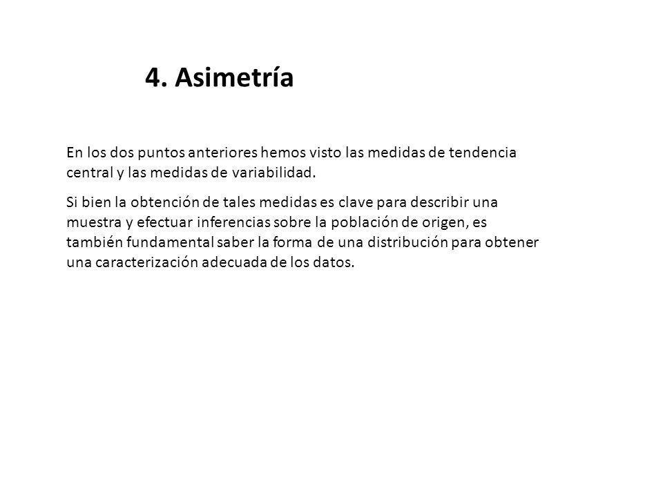 4. Asimetría En los dos puntos anteriores hemos visto las medidas de tendencia central y las medidas de variabilidad. Si bien la obtención de tales me