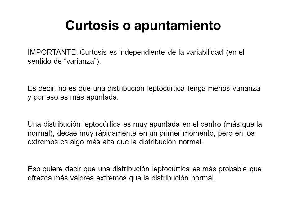 Curtosis o apuntamiento IMPORTANTE: Curtosis es independiente de la variabilidad (en el sentido de varianza). Es decir, no es que una distribución lep
