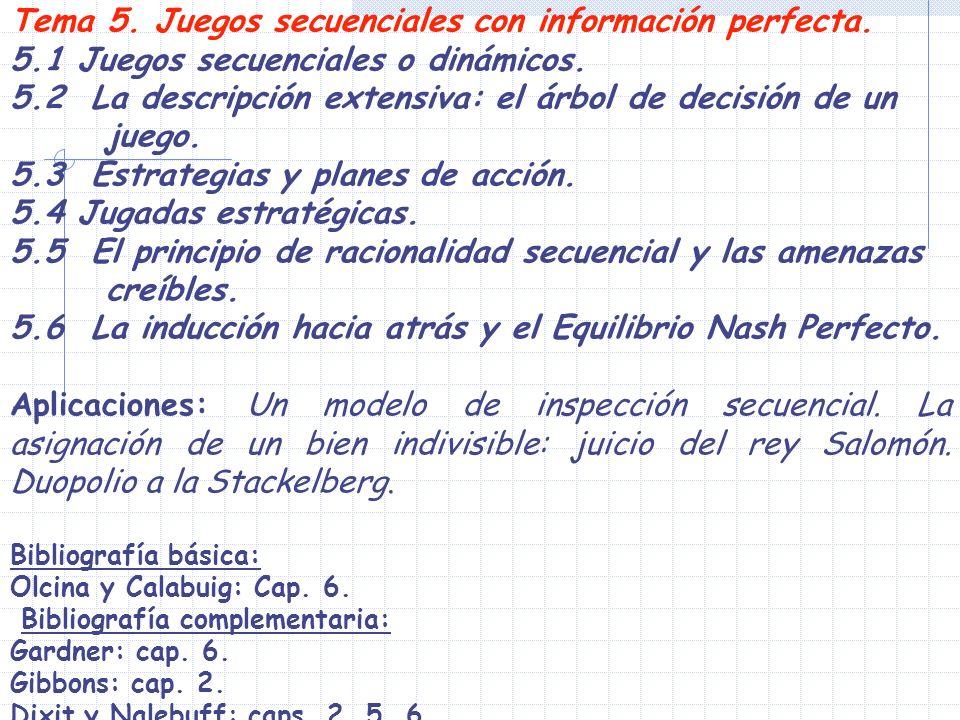 Tema 5. Juegos secuenciales con información perfecta. 5.1 Juegos secuenciales o dinámicos. 5.2 La descripción extensiva: el árbol de decisión de un ju