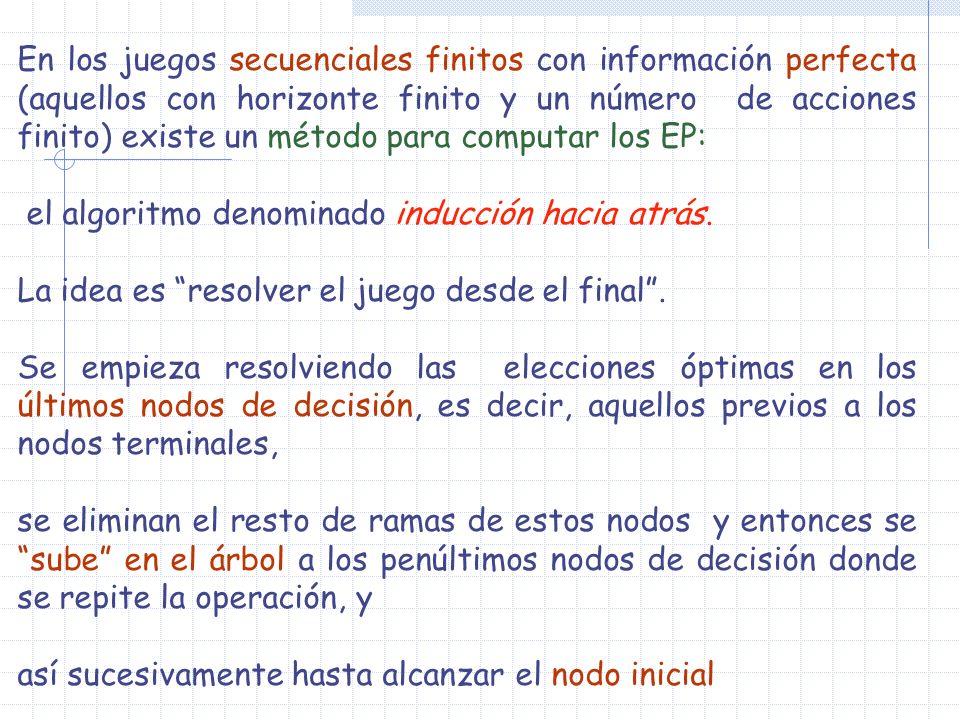 En los juegos secuenciales finitos con información perfecta (aquellos con horizonte finito y un número de acciones finito) existe un método para compu