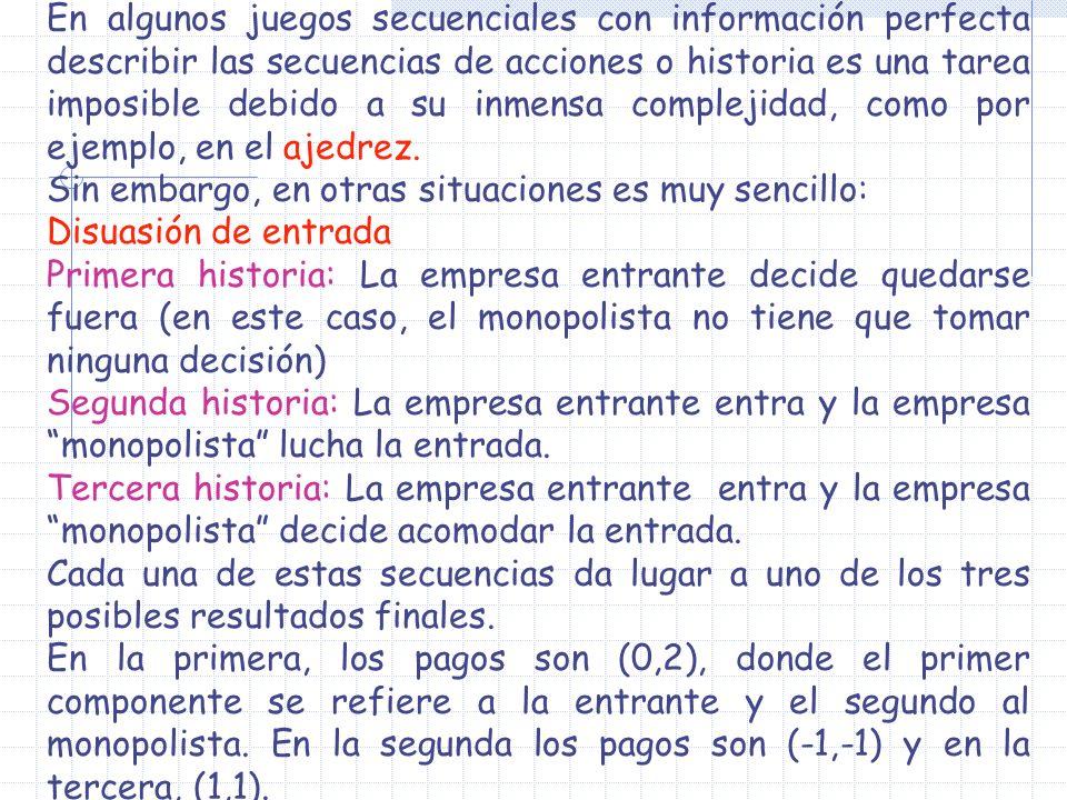 En algunos juegos secuenciales con información perfecta describir las secuencias de acciones o historia es una tarea imposible debido a su inmensa com