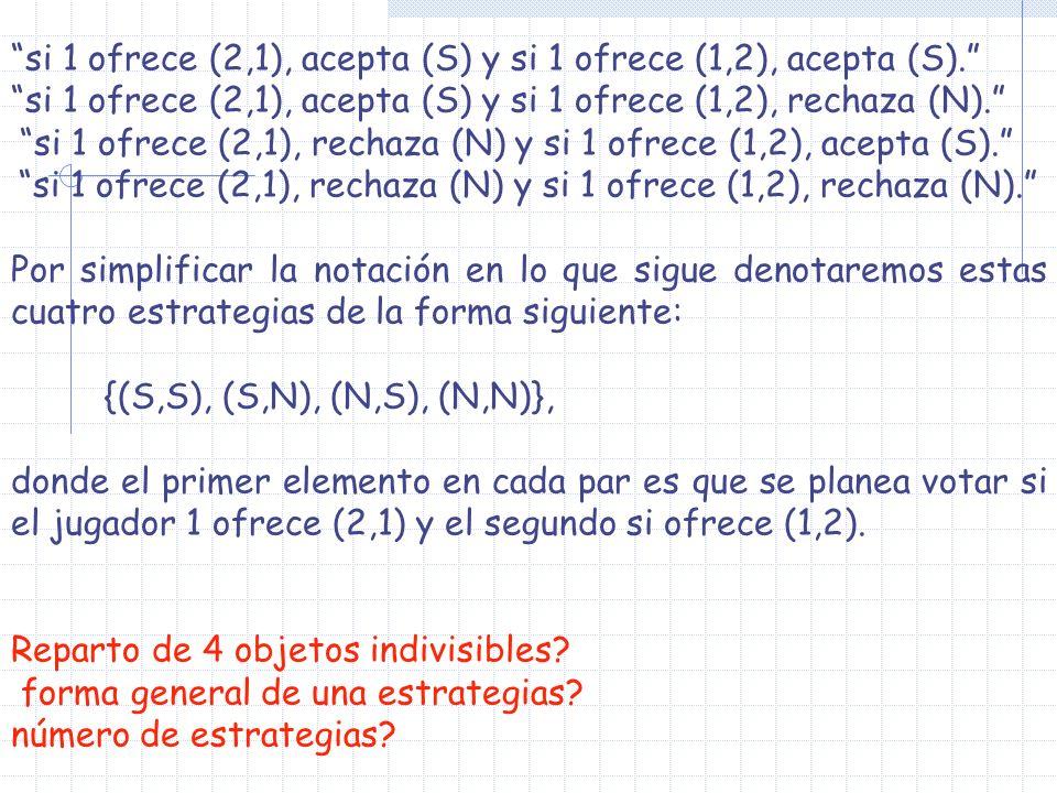 si 1 ofrece (2,1), acepta (S) y si 1 ofrece (1,2), acepta (S). si 1 ofrece (2,1), acepta (S) y si 1 ofrece (1,2), rechaza (N). si 1 ofrece (2,1), rech