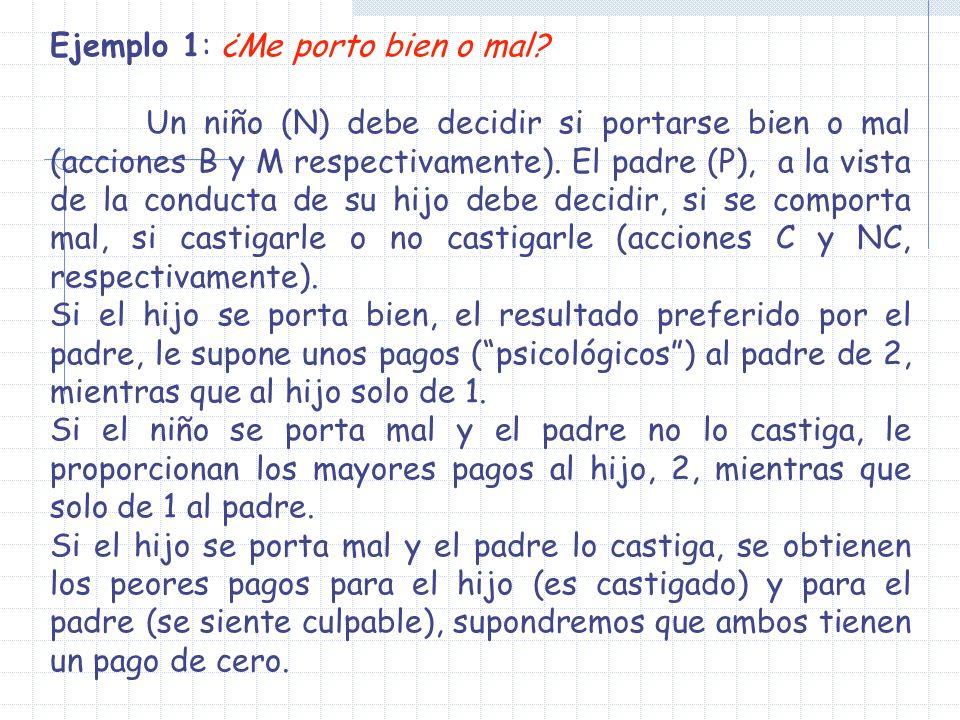 Ejemplo 1: ¿Me porto bien o mal? Un niño (N) debe decidir si portarse bien o mal (acciones B y M respectivamente). El padre (P), a la vista de la cond