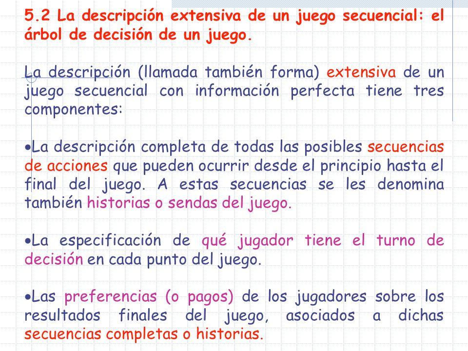 5.2 La descripción extensiva de un juego secuencial: el árbol de decisión de un juego. La descripción (llamada también forma) extensiva de un juego se