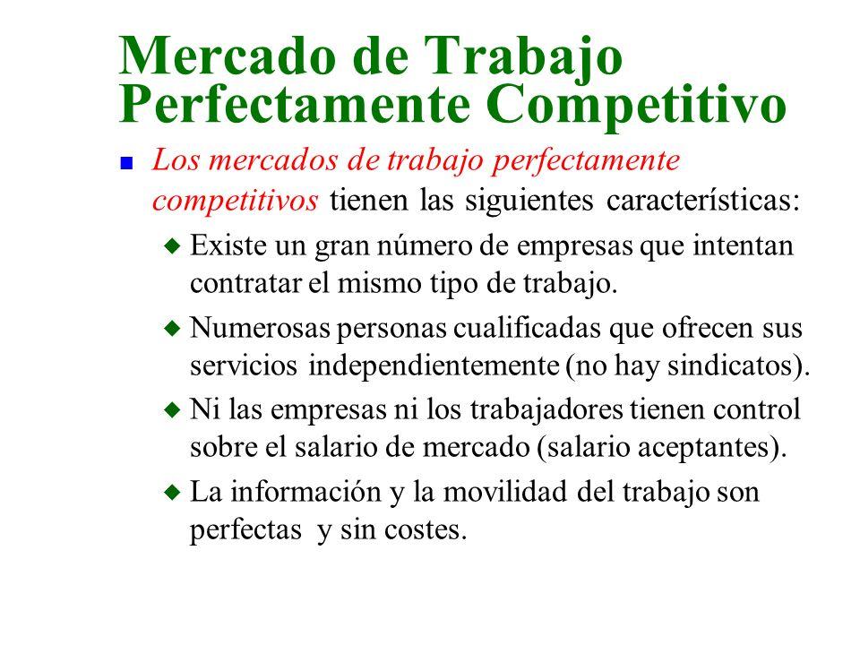 n Los mercados de trabajo perfectamente competitivos tienen las siguientes características: u Existe un gran número de empresas que intentan contratar