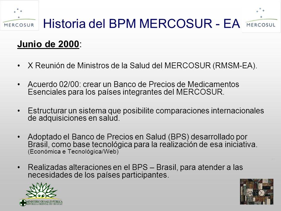 PT Historia del BPM MERCOSUR - EA Junio de 2000: X Reunión de Ministros de la Salud del MERCOSUR (RMSM-EA).
