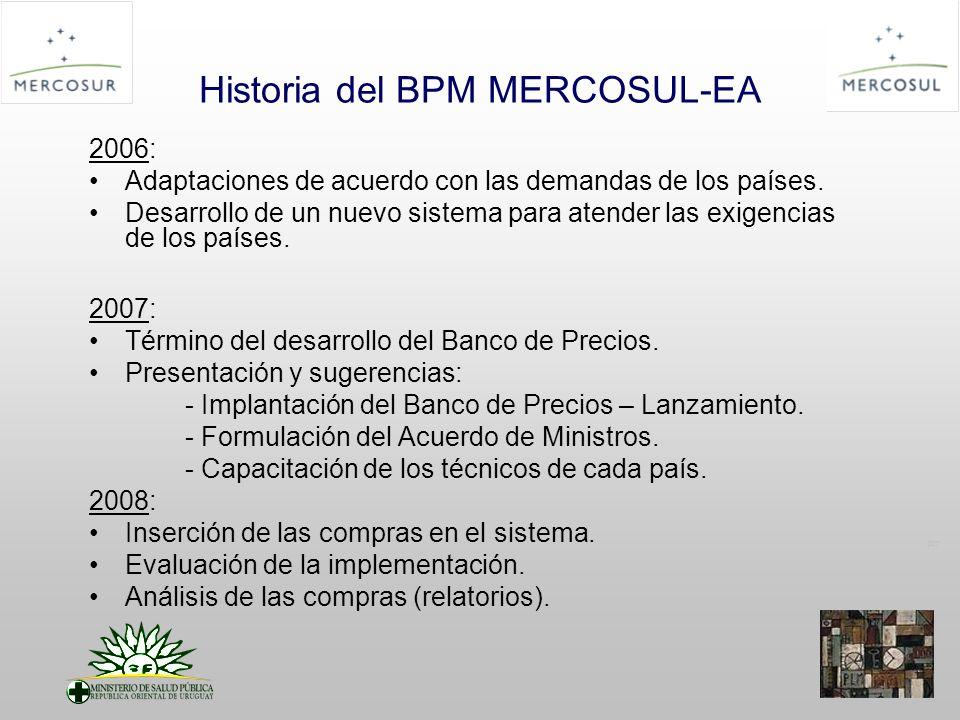 PT Historia del BPM MERCOSUL-EA 2006: Adaptaciones de acuerdo con las demandas de los países.