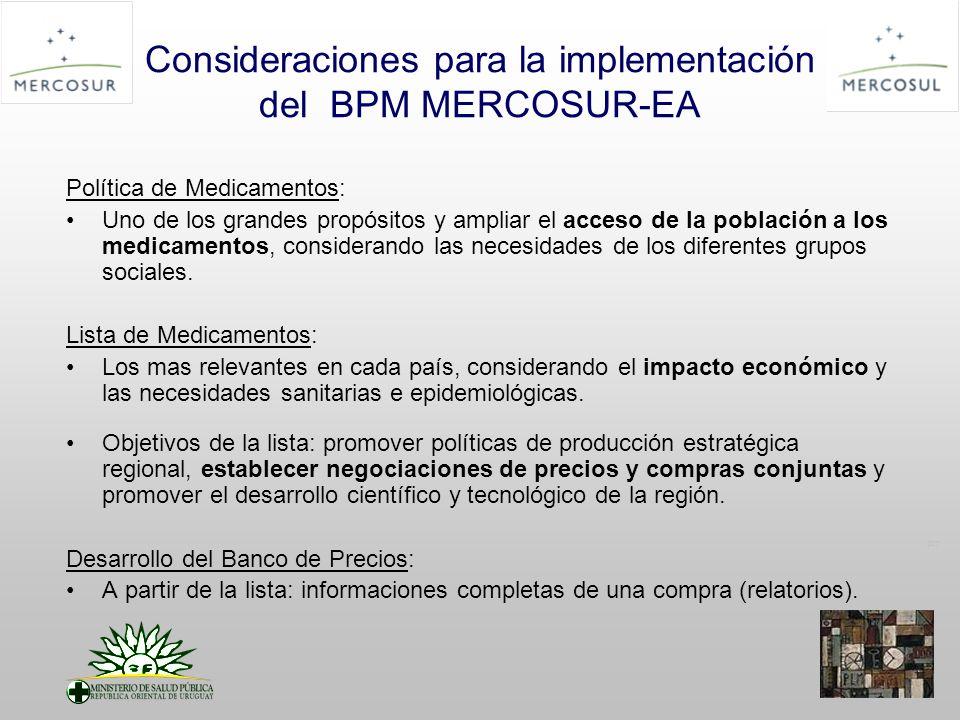 PT Consideraciones para la implementación del BPM MERCOSUR-EA Política de Medicamentos: Uno de los grandes propósitos y ampliar el acceso de la población a los medicamentos, considerando las necesidades de los diferentes grupos sociales.