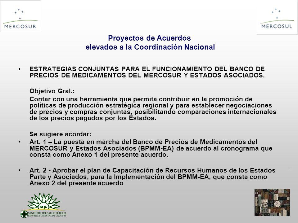PT Proyectos de Acuerdos elevados a la Coordinación Nacional ESTRATEGIAS CONJUNTAS PARA EL FUNCIONAMIENTO DEL BANCO DE PRECIOS DE MEDICAMENTOS DEL MERCOSUR Y ESTADOS ASOCIADOS.