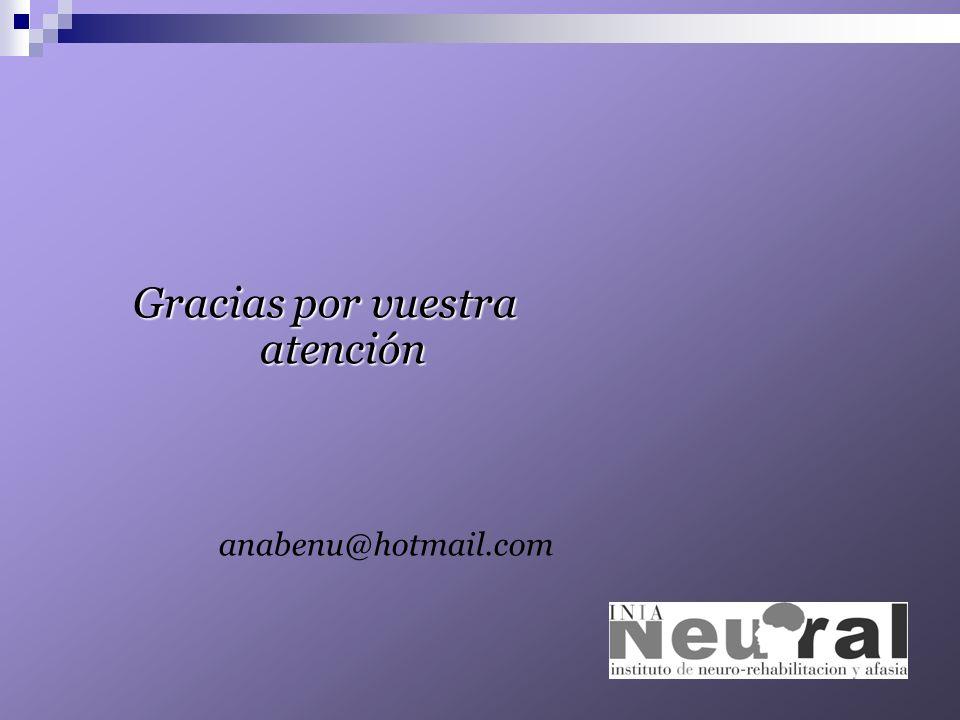 Gracias por vuestra atención anabenu@hotmail.com