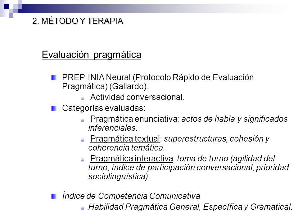 Evaluación pragmática PREP-INIA Neural (Protocolo Rápido de Evaluación Pragmática) (Gallardo). Actividad conversacional. Categorías evaluadas: Pragmát
