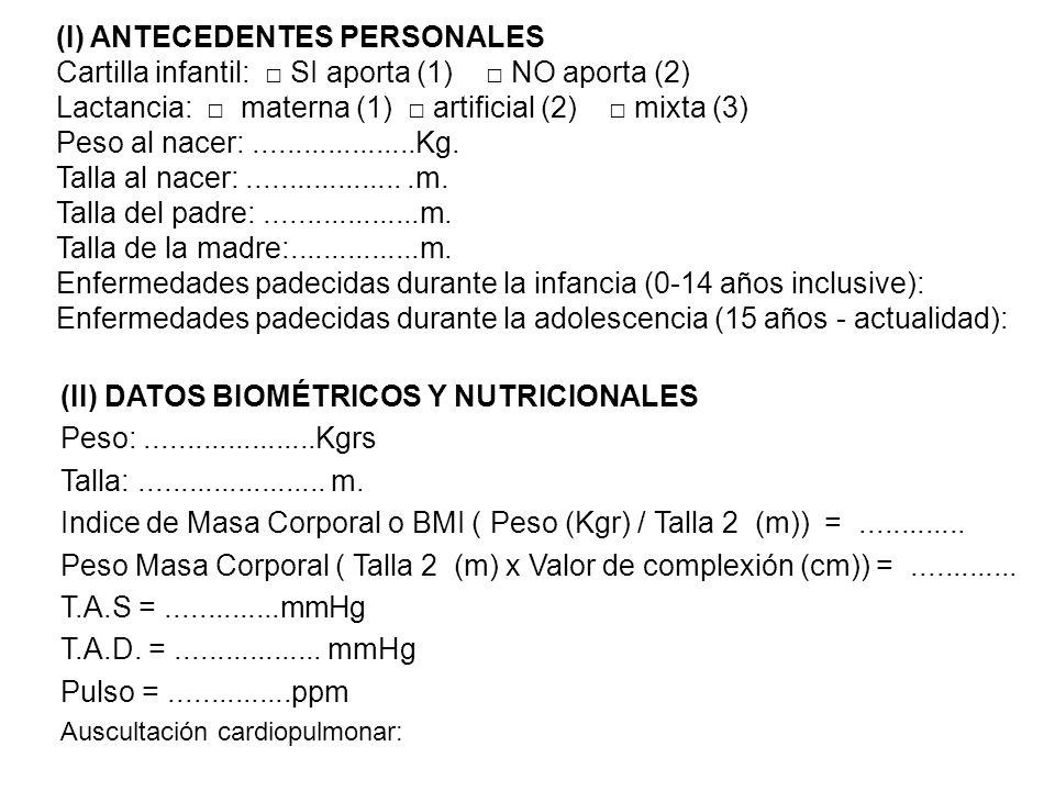 (I) ANTECEDENTES PERSONALES Cartilla infantil: SI aporta (1) NO aporta (2) Lactancia: materna (1) artificial (2) mixta (3) Peso al nacer:.............