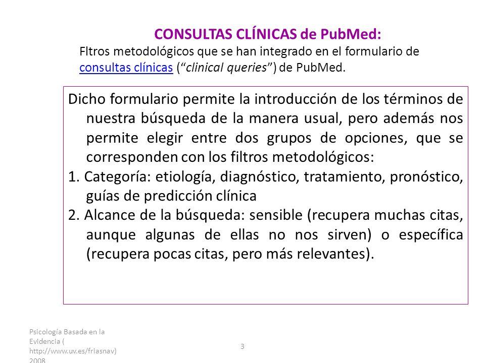 Psicología Basada en la Evidencia ( http://www.uv.es/friasnav) 2008 3 CONSULTAS CLÍNICAS de PubMed: Fltros metodológicos que se han integrado en el formulario de consultas clínicas (clinical queries) de PubMed.