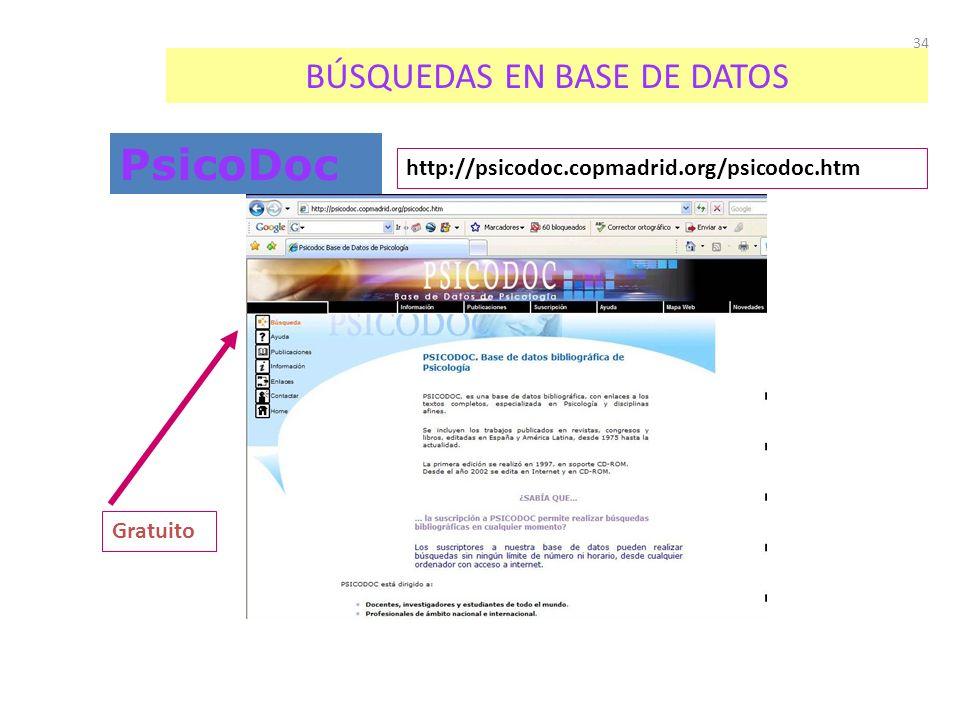 34 BÚSQUEDAS EN BASE DE DATOS PsicoDoc http://psicodoc.copmadrid.org/psicodoc.htm Gratuito