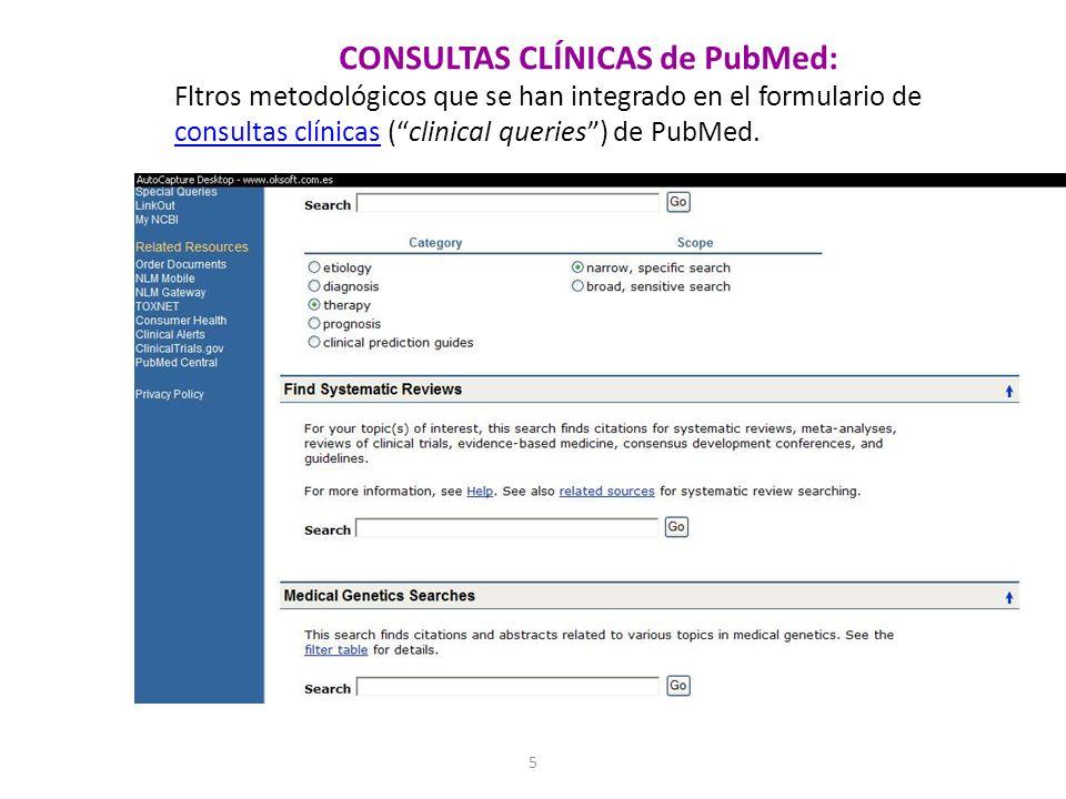 5 CONSULTAS CLÍNICAS de PubMed: Fltros metodológicos que se han integrado en el formulario de consultas clínicas (clinical queries) de PubMed. consult