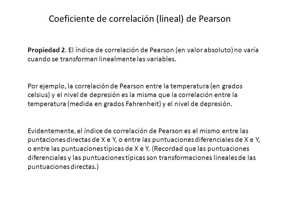 Coeficiente de correlación (lineal) de Pearson Propiedad 2. El índice de correlación de Pearson (en valor absoluto) no varía cuando se transforman lin