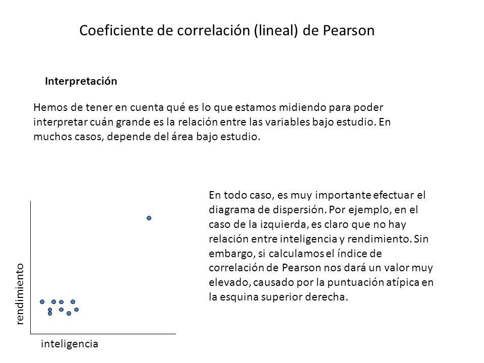 Coeficiente de correlación (lineal) de Pearson Interpretación Hemos de tener en cuenta qué es lo que estamos midiendo para poder interpretar cuán gran