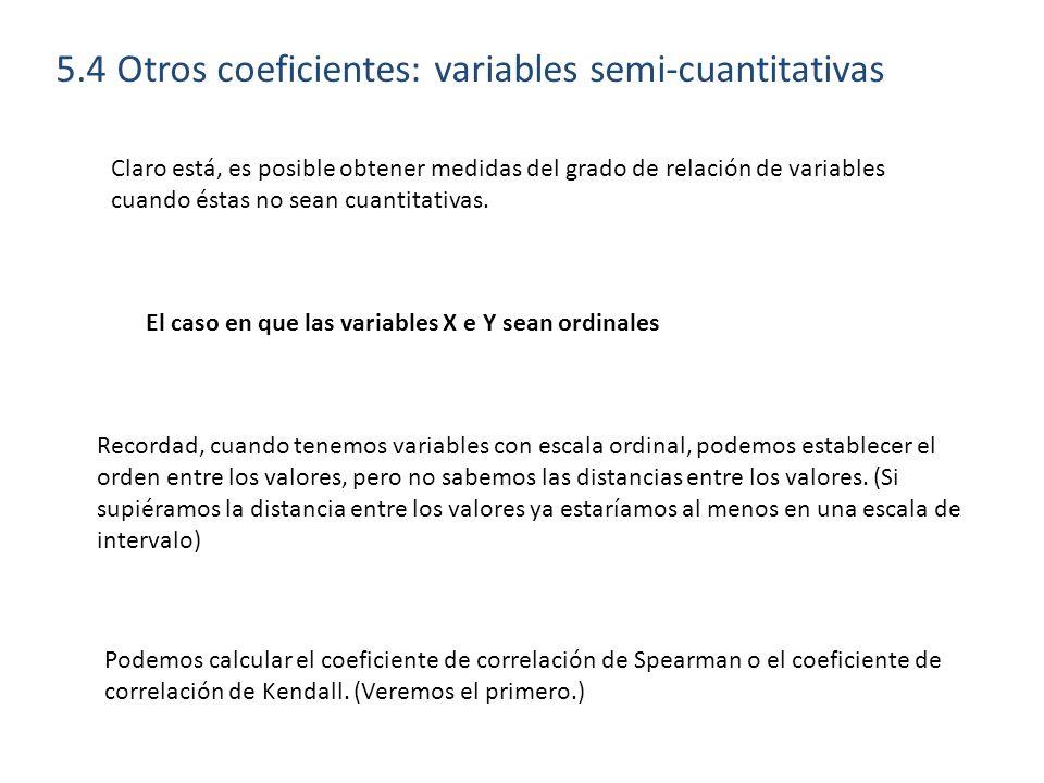 5.4 Otros coeficientes: variables semi-cuantitativas Claro está, es posible obtener medidas del grado de relación de variables cuando éstas no sean cu