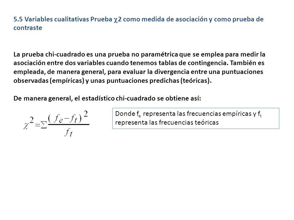 5.5 Variables cualitativas Prueba 2 como medida de asociación y como prueba de contraste La prueba chi-cuadrado es una prueba no paramétrica que se em