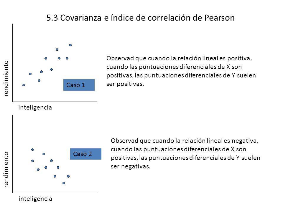 5.3 Covarianza e índice de correlación de Pearson rendimiento inteligencia Observad que cuando la relación lineal es positiva, cuando las puntuaciones