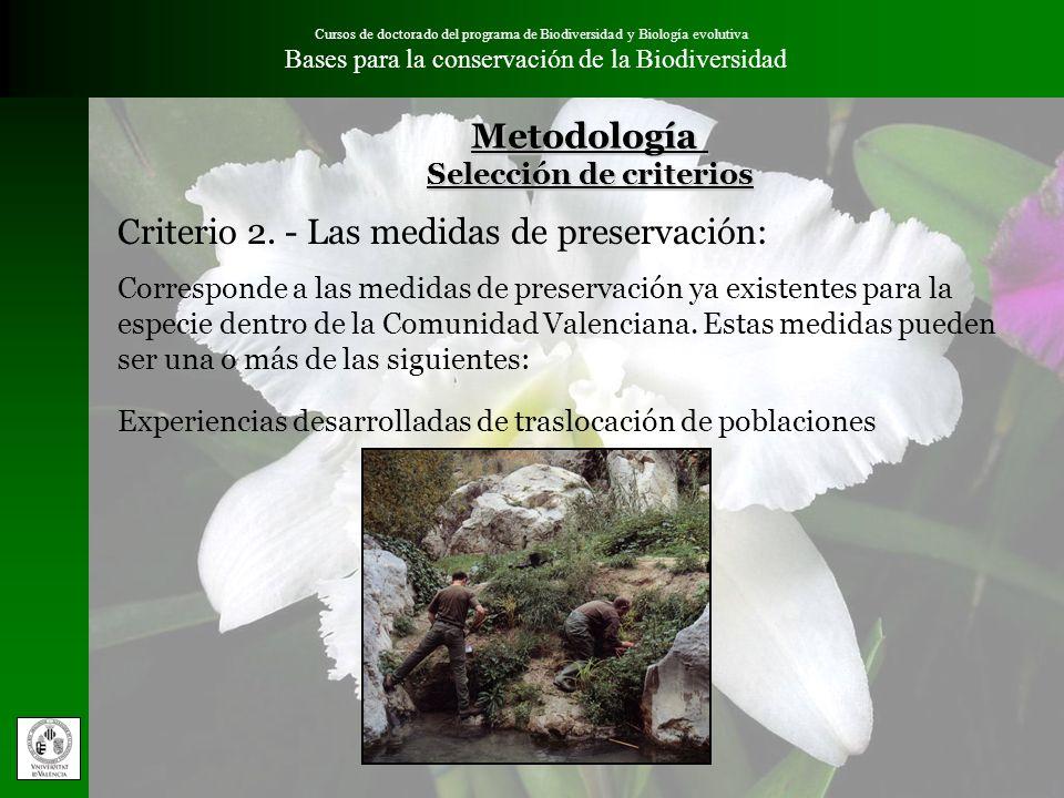 Cursos de doctorado del programa de Biodiversidad y Biología evolutiva Bases para la conservación de la BiodiversidadMetodología Selección de criterio