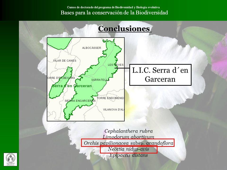 Cursos de doctorado del programa de Biodiversidad y Biología evolutiva Bases para la conservación de la Biodiversidad L.I.C. Serra d´en Garceran Cepha