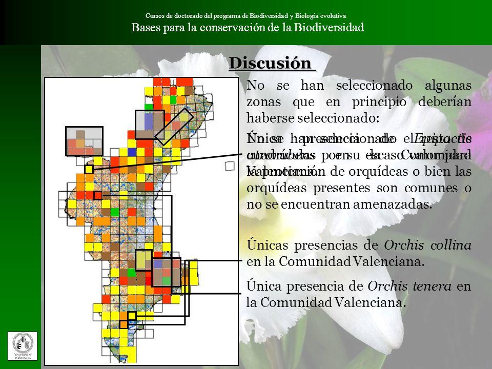 Cursos de doctorado del programa de Biodiversidad y Biología evolutiva Bases para la conservación de la Biodiversidad No se han seleccionado algunas z