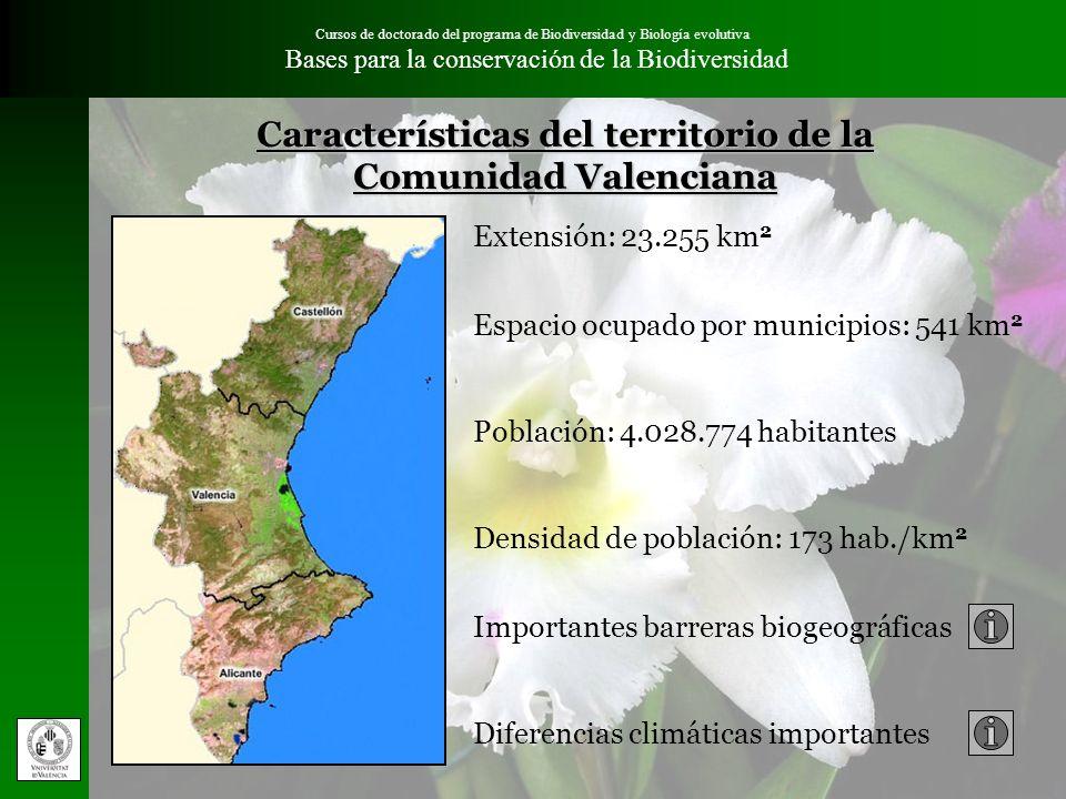 Cursos de doctorado del programa de Biodiversidad y Biología evolutiva Bases para la conservación de la Biodiversidad Distribución de las orquídeas en la Comunidad Valenciana Comarcas que presentan la mayor abundancia de especies Comarcas interiores de Castellón: Els Ports Alt Maestrat Alcalaten Alt Millars Alt Palancia Rincón de Ademuz La Vall d´Albaida y El Comtat