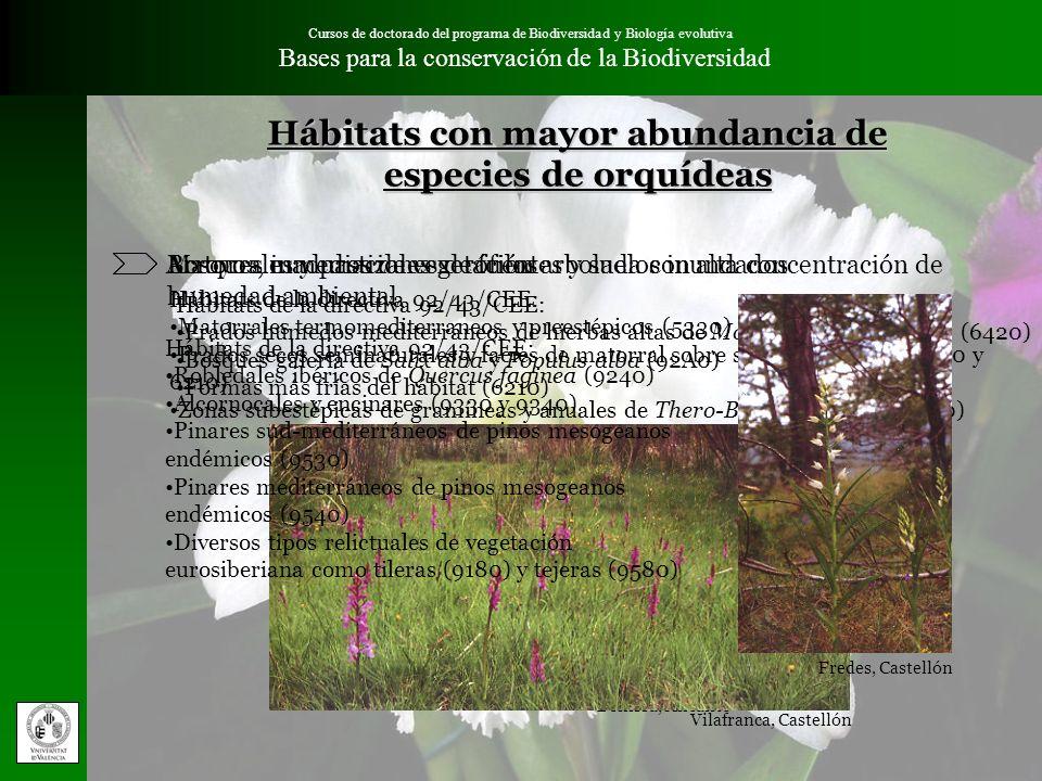 Cursos de doctorado del programa de Biodiversidad y Biología evolutiva Bases para la conservación de la BiodiversidadMetodología Especies de orquídeas presentes en la Comunidad Valenciana 67 especies Ninguna endémica