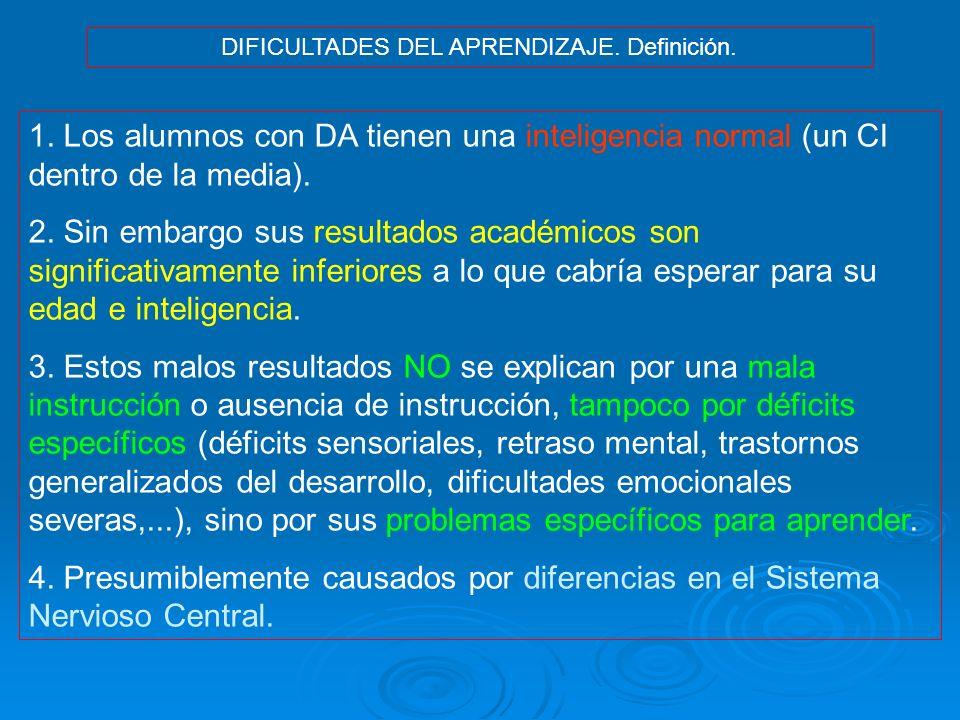 DIFICULTADES DEL APRENDIZAJE. Definición. 1. Los alumnos con DA tienen una inteligencia normal (un CI dentro de la media). 2. Sin embargo sus resultad