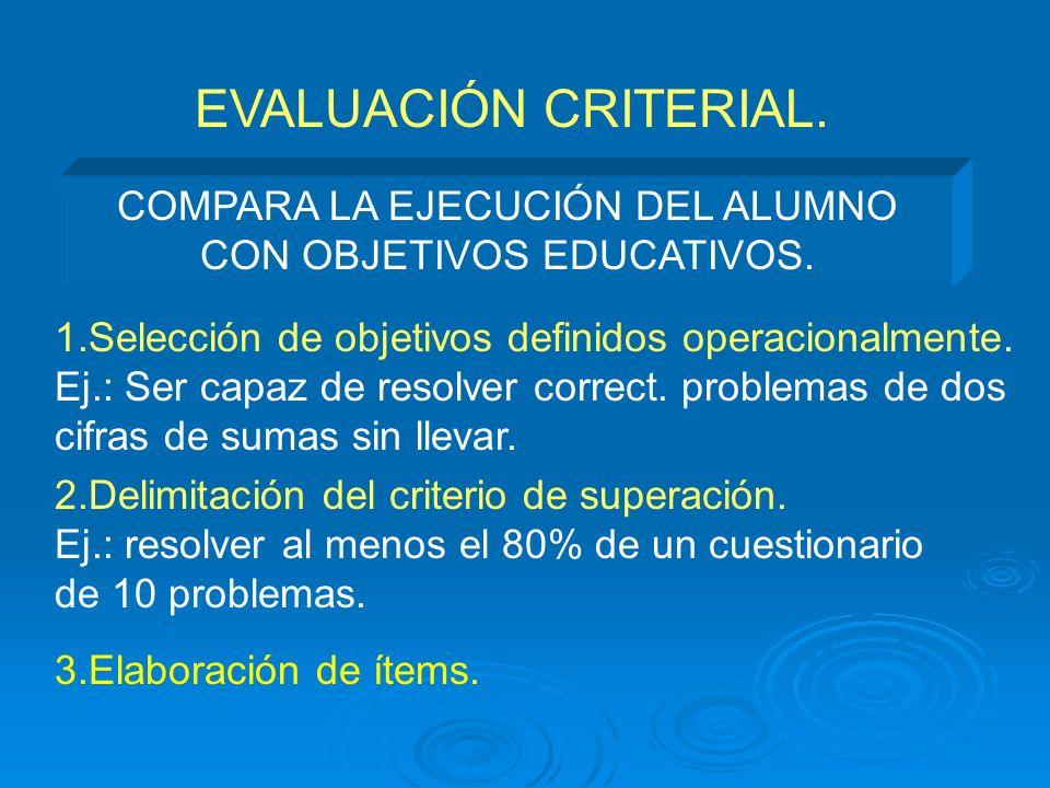 EVALUACIÓN CRITERIAL. COMPARA LA EJECUCIÓN DEL ALUMNO CON OBJETIVOS EDUCATIVOS. 1.Selección de objetivos definidos operacionalmente. Ej.: Ser capaz de