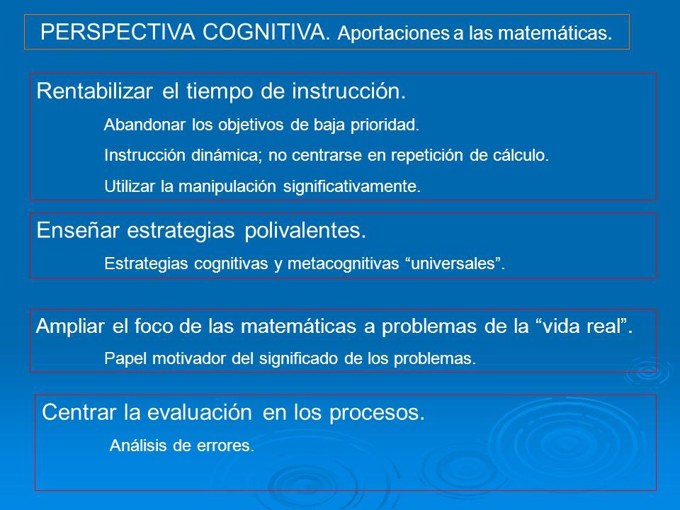 PERSPECTIVA COGNITIVA. Aportaciones a las matemáticas. Rentabilizar el tiempo de instrucción. Abandonar los objetivos de baja prioridad. Instrucción d