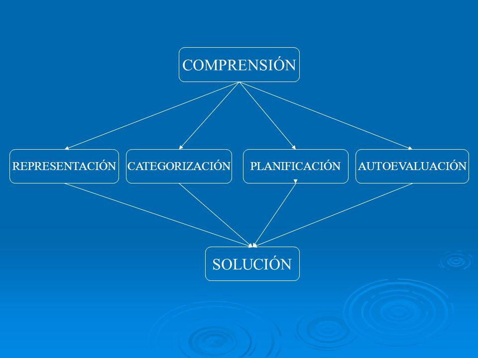 COMPRENSIÓN REPRESENTACIÓNAUTOEVALUACIÓN PLANIFICACIÓN CATEGORIZACIÓN SOLUCIÓN
