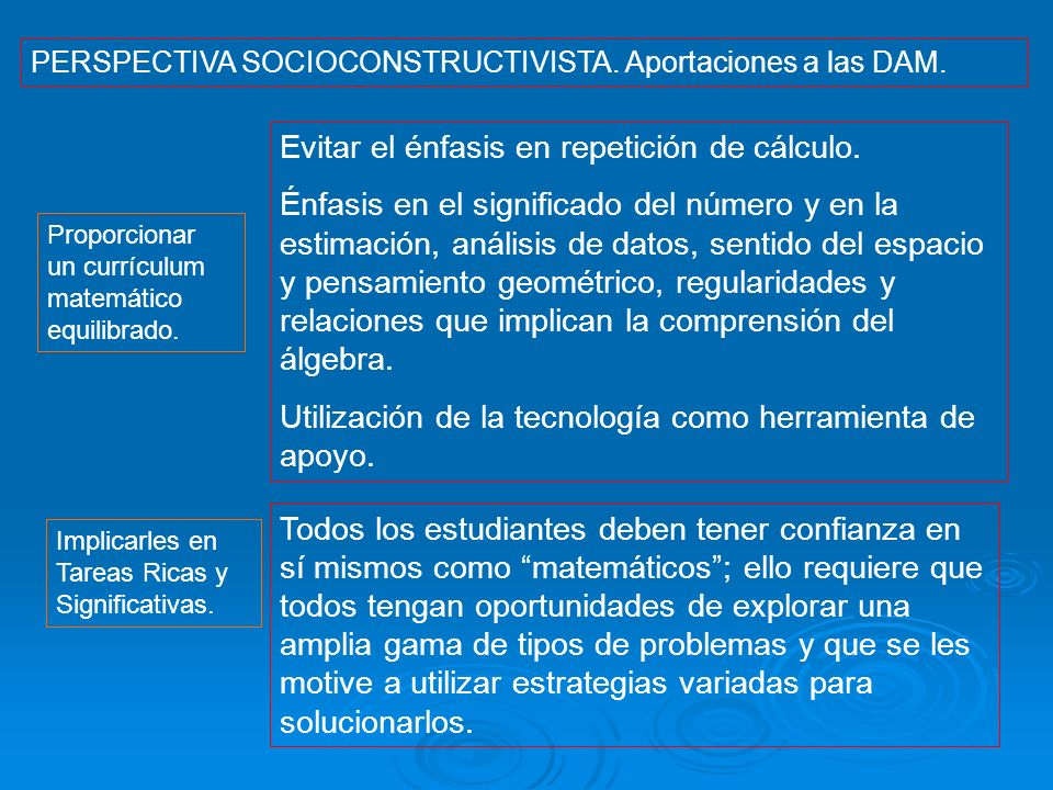 PERSPECTIVA SOCIOCONSTRUCTIVISTA. Aportaciones a las DAM. Proporcionar un currículum matemático equilibrado. Evitar el énfasis en repetición de cálcul