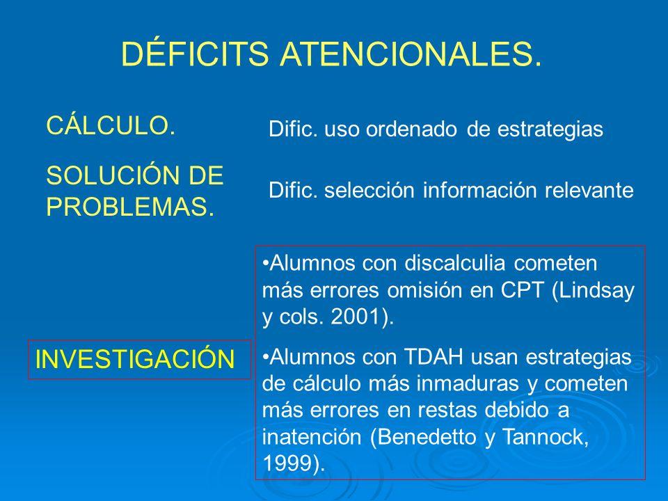 DÉFICITS ATENCIONALES. CÁLCULO. Dific. selección información relevante SOLUCIÓN DE PROBLEMAS. Dific. uso ordenado de estrategias INVESTIGACIÓN Alumnos