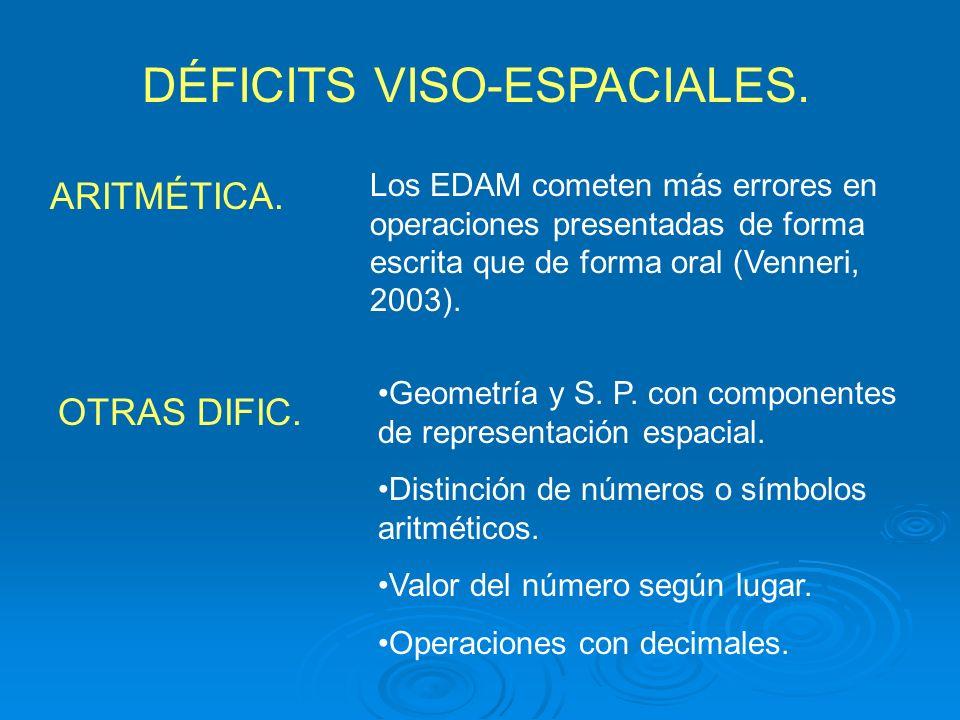 DÉFICITS VISO-ESPACIALES. Geometría y S. P. con componentes de representación espacial. Distinción de números o símbolos aritméticos. Valor del número